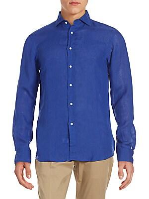 Solid Linen Button-Down Shirt