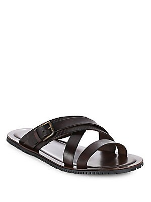 Leather Stripped Slide Sandals