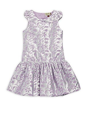 Little Girl's & Girl's Metallic Floral Print Dress
