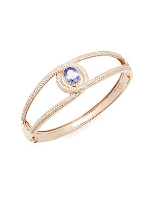 Diamond & 14K Rose Gold Bangle
