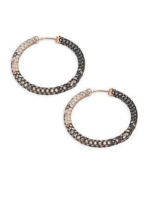 White Diamond, Black Diamond, Dark Brown Diamond & 14K Rose Gold Hoop Earrings- 1in