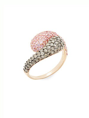 Diamond, Pink Sapphire & 14K Rose Gold Ring