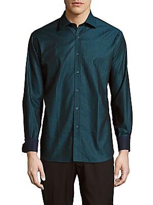 Polka-Dot Cotton Button-Down Shirt