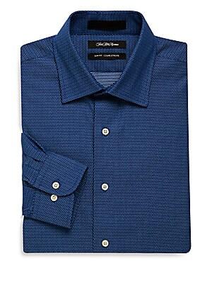 Dot Printed Slim-Fit Dress Shirt