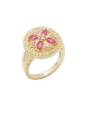 Diamond, Pink Sapphire, Ruby & 14K Yellow Gold Cocktail Ring