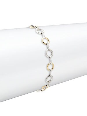 Click here for Diamond, 14K White & Yellow Gold Bracelet prices