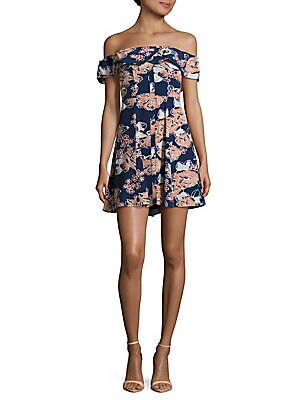 Vineyard Floral Printed Off-The -Shoulder Dress