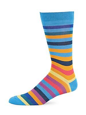 Mixed Stripe Cotton-Blend Socks