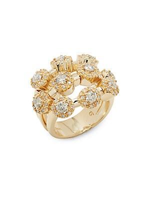Diamond & 14K Yellow Gold Three-Tier Ring