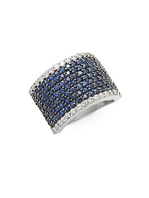 Diamond, Sapphire & 14K White Gold Ring