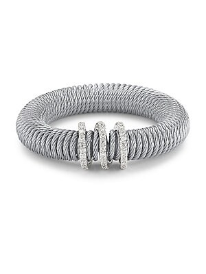 Click here for Stainless Steel & Diamond Coil Bracelet prices
