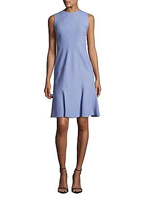 Chambray Flared Sleeveless Dress
