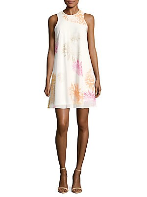 Floral-Print Sleeveless Trapeze Dress