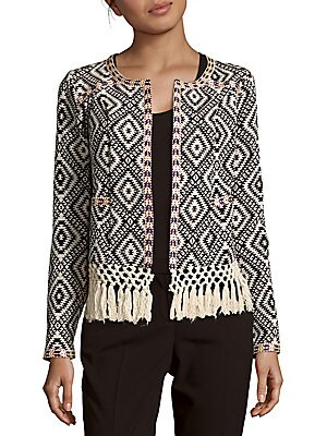 Santa Fe Fringed Hem Long-Sleeve Jacket