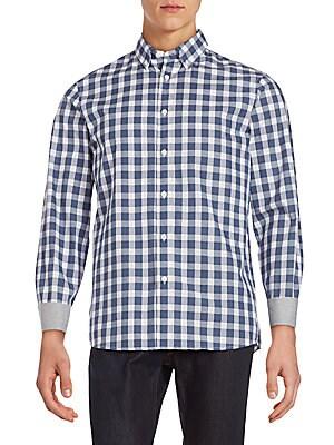 michael kors male classic fit checked cotton buttondown shirt