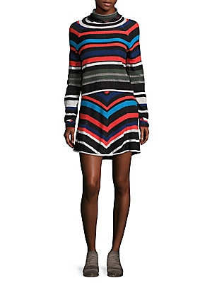 Striped Cowlneck Sweater and Skirt Set