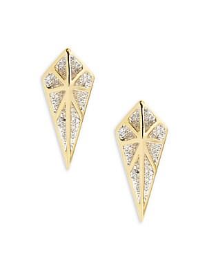CZ Geometric Drop Earrings- 1.10in