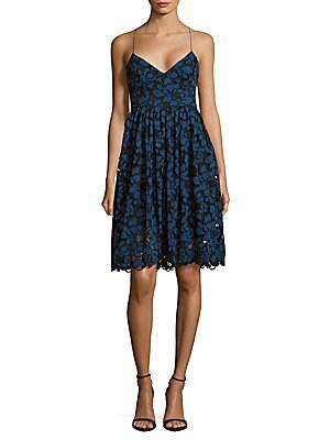 Chessington Floral-Lace Crisscross-Back Dress
