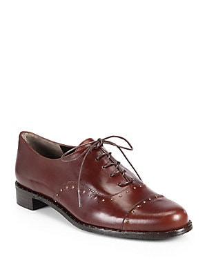 Boystown Studded Leather Lace-Up Oxfords
