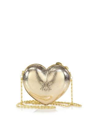 LOVE MOSCHINO Heart Metallic Faux Leather Crossbody Bag in Gold