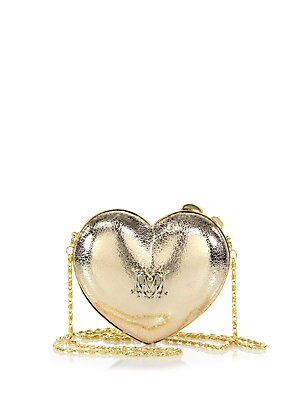 Heart Metallic Faux Leather Crossbody Bag