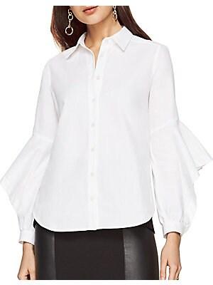 Cotton Ruffle Sleeve Blouse