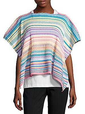 Striped Knit Poncho