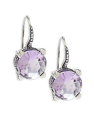 Round Faceted Amethyst Earrings