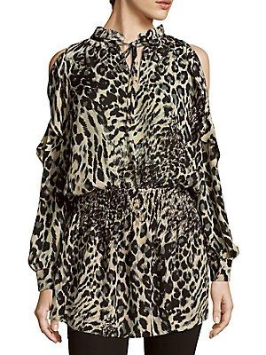 Animal-Print Cold-Shoulder Dress