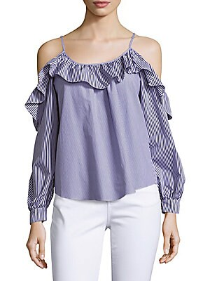 Pinstripe Poplin Ruffled Top