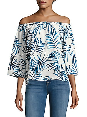 Nirvana Foliage Printed Off-The-Shoulder Top