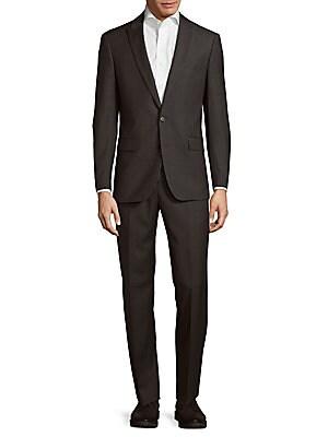 michael kors male slim fit solid wool suit
