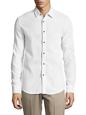 Spread-Collar Textured Linen Shirt