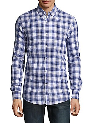 Cotton & Linen Plaid Shirt