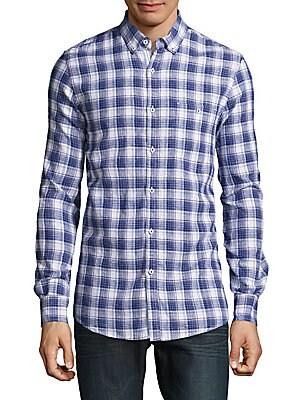 Cotton & Linen Plaid Shirt