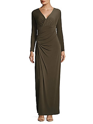 vera wang female taupe ruched dress