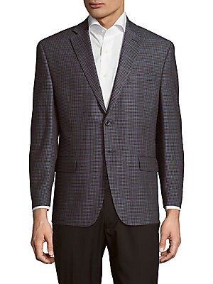 michael kors male classic fit checked windowpane sportcoat