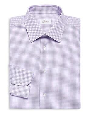 Regular Fit Mini Windowpane Cotton Dress Shirt