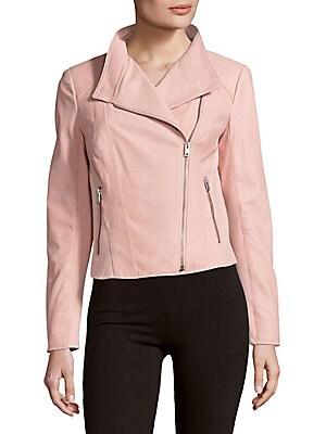 Felicia Zippered Leather Moto Jacket