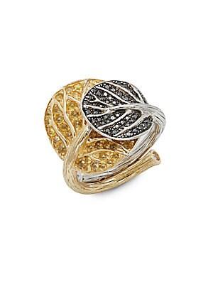 Botanical Leaf Black Diamond, Yellow Sapphire & 18K Gold Ring