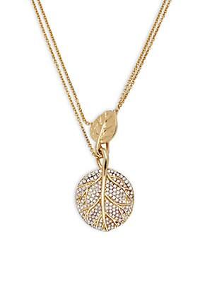 Botanical Leaf Diamond & 18K Yellow Gold Pendant Necklace