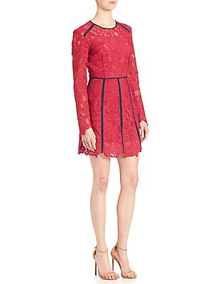 Lace Contrast-Trim Dress