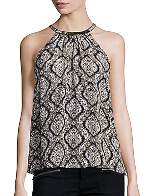 Click here for Francis Embellished Silk Halter Top prices