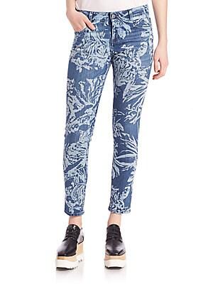 Tiger-Print Skinny Ankle Jeans