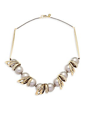 10K Yellow Gold Crystal & 18MM Pearl Necklace