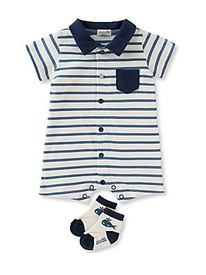 Baby's Two-Piece Yarn Dyed Romper and Socks Set