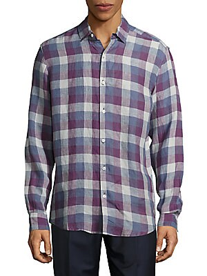 Casual Plaid Linen Shirt