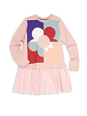 Girl's Colorblock Flower Graphic Dress