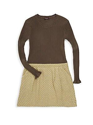 Girl's Medallion Print Sweater Dress