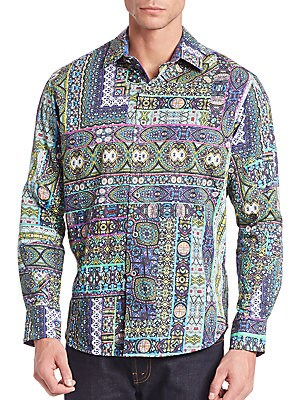 Abstract Print Cotton Shirt